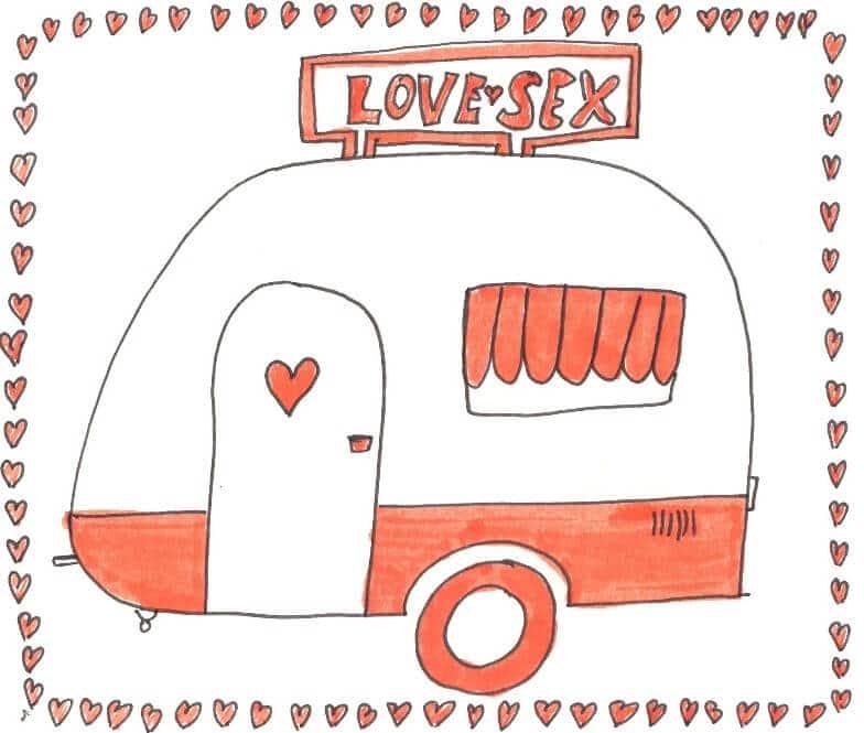 Wohnwagen mit Love & Sex Schild